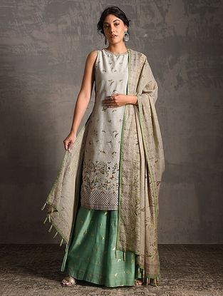Grey-Green Printed Handwoven Banarasi Cotton-Silk Tunic with Palazzos and Dupatta (Set of 3)