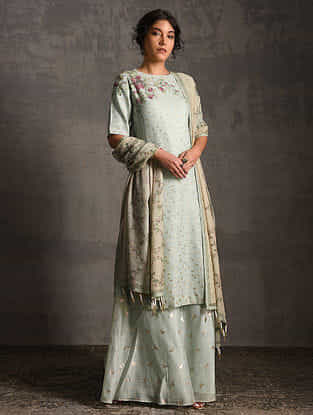 Green-Grey Printed Handwoven Banarasi Cotton-Silk Tunic with Palazzos and Dupatta (Set of 3)