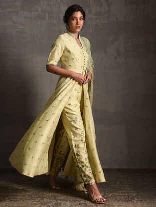 Lemon Yellow Printed Handwoven Banarasi Cotton-Silk Tunic with Pants and Dupatta (Set of 3)
