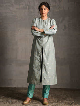 Grey Printed Handwoven Banarasi Cotton-Silk Pants and Jacket (Set of 2)