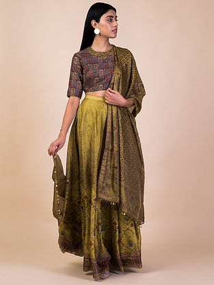 Lime Green Printed Chanderi Silk Lehenga with Blouse and Tissue Dupatta (Set of 3)