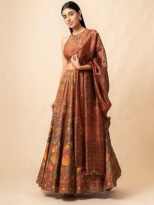 Rust Benarasi Kadwa Digital Printed Handwoven Silk Lehenga with Blouse and Dupatta (Set of 3)