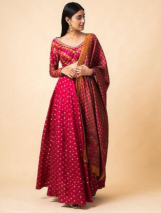 Garnet Benarasi Kadwa Digital Printed Handwoven Silk Lehenga with Blouse and Tissue Dupatta (Set of 3)