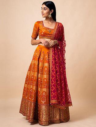 Orange Benarasi Kadwa Handwoven Silk Lehenga with Blouse and Net Dupatta (set of 3)