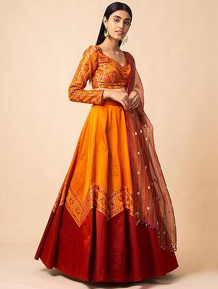 Orange Benarasi Kadwa Handwoven Silk Lehenga with Blouse and Organza Dupatta (Set of 3)