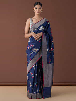 Blue-Red Benarasi Silk Saree