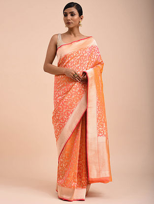Pink-Orange Handwoven Silk Georgette Saree