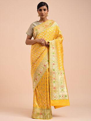 Yellow Handwoven Silk Georgette Saree