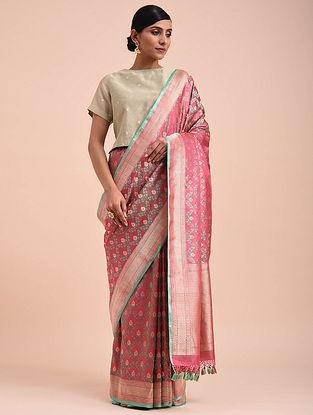 Pink-Green Handwoven Silk Georgette Saree
