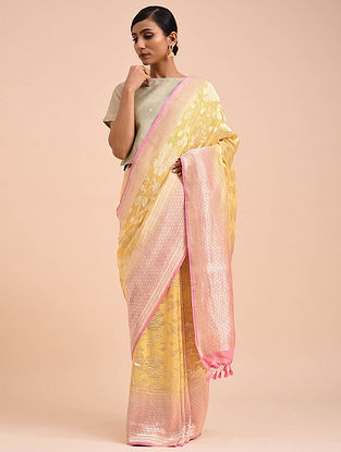 Yellow-Pink Handwoven Benarasi Georgette Saree