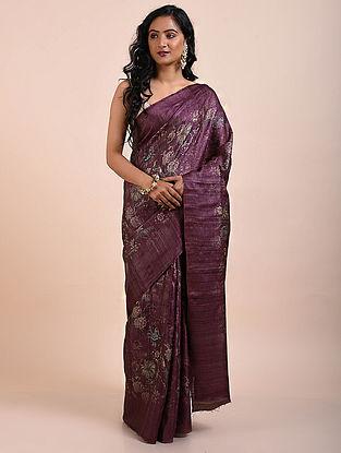 Purple Printed Tussar Silk Saree
