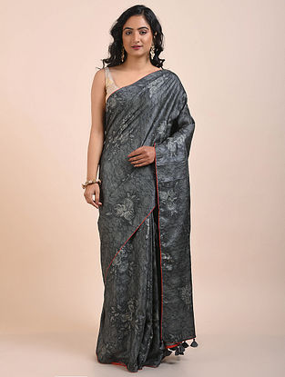 Black Printed Tussar Silk Saree