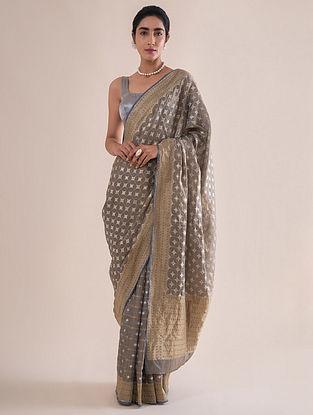 Grey Handwoven Benarasi Tissue Silk Saree