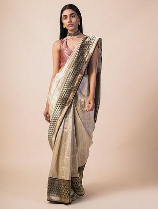Ivory-Black Handwoven Benarasi Silk Saree