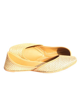 Gold Hand Embroidered Pure Leather Jutti
