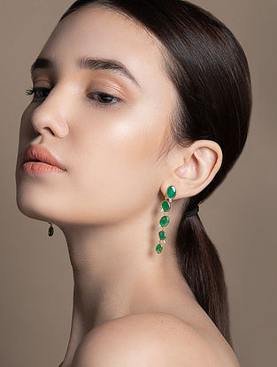 Gold and Diamond Earrings with Emerald