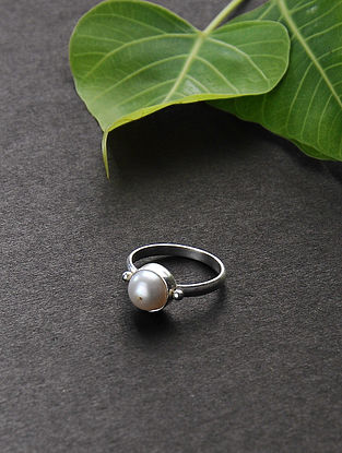 Silver Tone Ring with Pearl