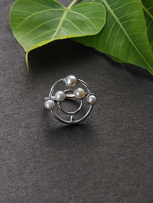 Silver Plated Ring with Pearls