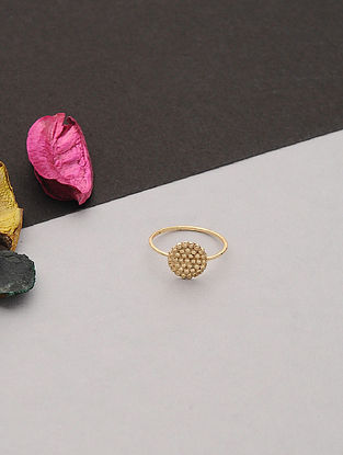Gold Tone Handcrafted Ring (Ring Size: 6.6)