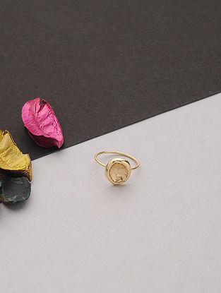 Gold Tone Handcafted Ring (Ring Size: 6.6)