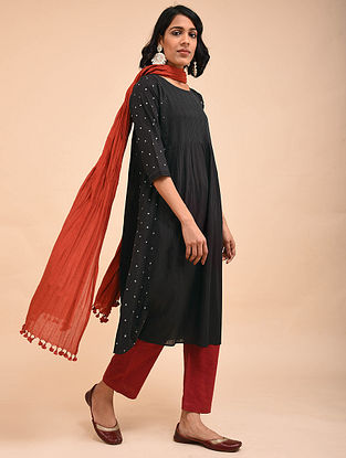 Black Cotton Dobby Embroidered Kurta with Pintuck