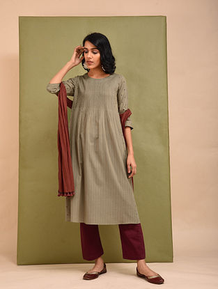 Beige Cotton Dobby Embroidered Kurta with Pintuck