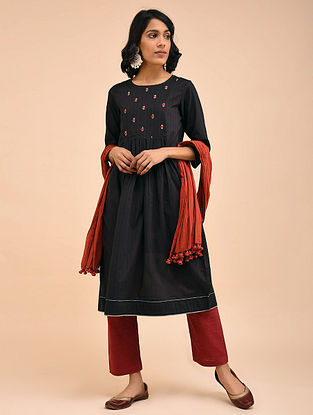 Black Cotton Dobby Embroidered Kurta with Gathers