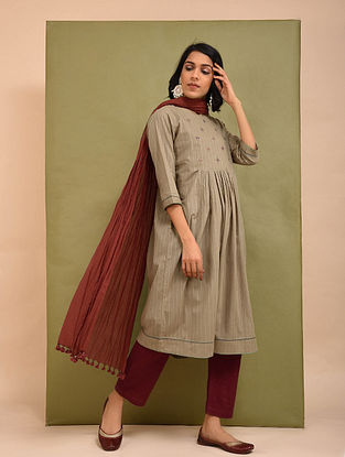 Beige Cotton Dobby Embroidered Kurta with Gathers