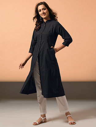 PALAK - Black Cotton Dobby Kurta with Embroidery
