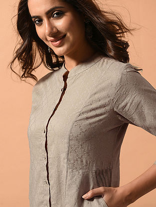 SHREYA - Beige Cotton Dobby Kurta with Embroidery