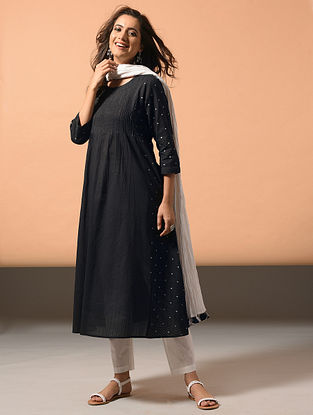 OJASVI - Black Cotton Dobby Kurta with Embroidery