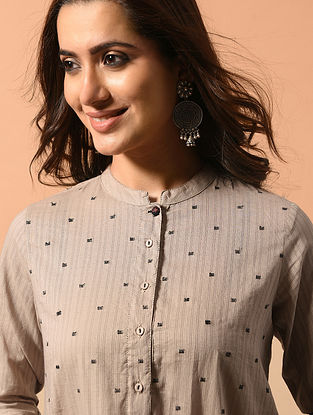 ISHA - Beige Cotton Dobby Kurta with Embroidery