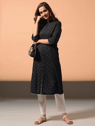 IRA - Black Cotton Dobby Kurta with Embroidery