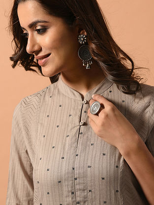 DIVYA - Beige Cotton Dobby Kurta with Embroidery