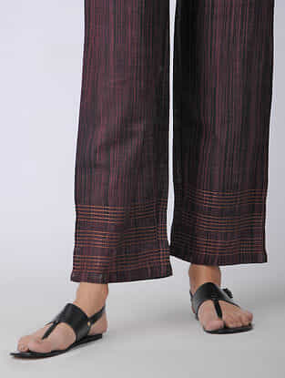 Black-Pink Elasticated-waist Handloom Cotton Pants with Kantha Embroidery
