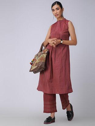 Pink Handloom Cotton Kurta with Pleats