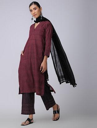 Maroon Handloom Cotton Kurta with Pockets