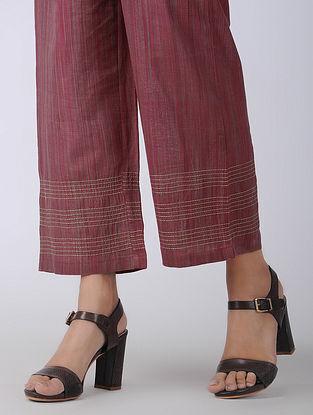 Maroon Elasticated-waist Handloom Cotton Pants with Kantha Embroidery