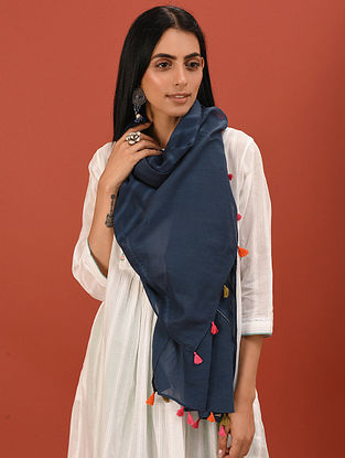 Blue Cotton Stole with Tassels