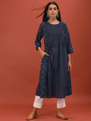 ATHYA - Blue Cotton Dobby Embroidered Kurta with Pintucks
