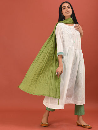 HASANA - White Cotton Dobby Embroidered Kurta with Pleats and Gathers