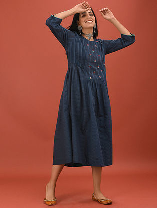 LATIFA - Blue Cotton Dobby Embroidered Kurta with Pleats and Gathers