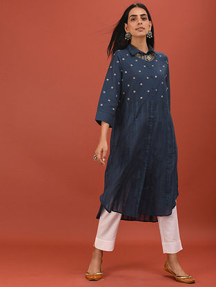 SAHRUDEE - Blue Button-Down Cotton Dobby Embroidered Kurta with Pockets