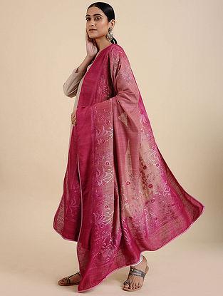 Pink-Beige Hand Embroidered Matka Silk Dupatta