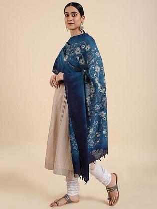 Blue Hand Embroidered Matka Silk Dupatta