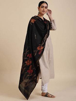 Black-Red Hand Embroidered Muga Silk Dupatta