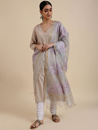 Grey-Purple Hand Embroidered Kota Silk Saree