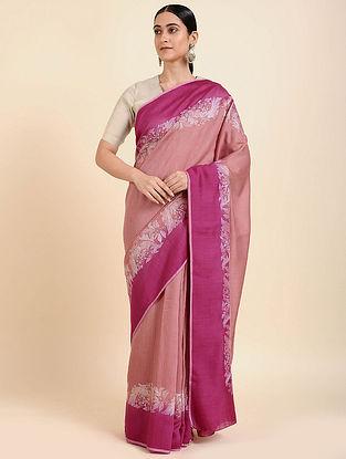 Peach-Pink Hand Embroidered Muga Silk Saree
