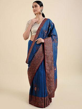 Blue-Red Hand Embroidered Muga Silk Saree