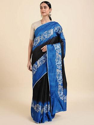 Blue-Black Hand Embroidered Matka Silk Saree